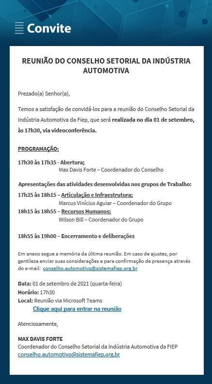 7ª Reunião - Conselho Setorial da Indústria Automotiva
